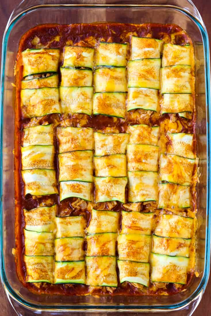 Chicken Stuffed Zucchini Enchiladas have a creamy chicken filling and are topped with sauce and cheese
