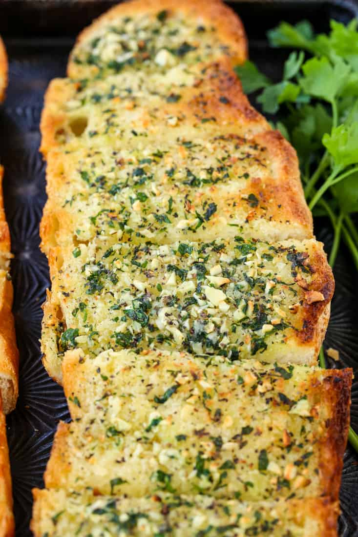 This Classic Garlic Bread Recipe is topped with garlic and butter and baked
