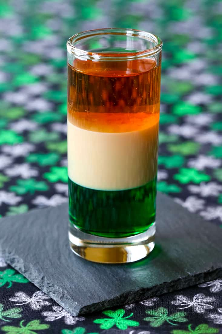 An Irish Flag Shot is a layered cocktail recipe