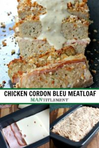 A layered, chicken meatloaf with ham and swiss cheese