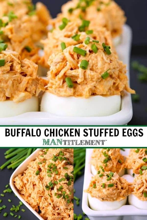 Hard boiled eggs stuffed with buffalo chicken salad