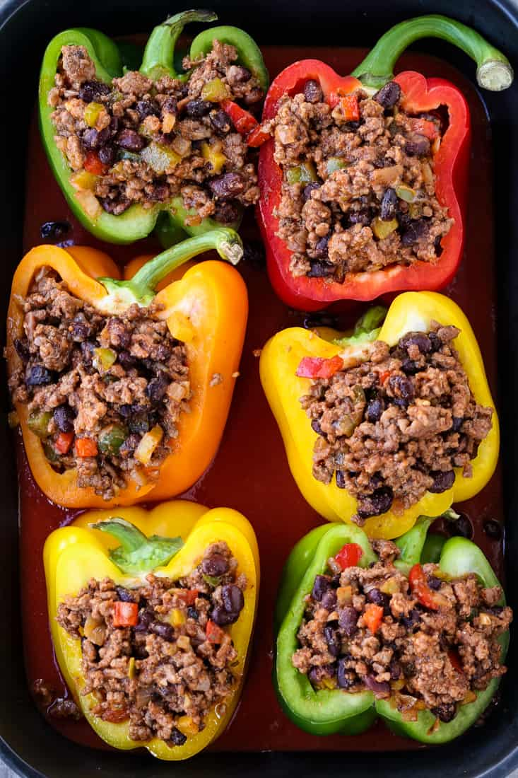 Cheesy Mexican Stuffed Peppers are a stuffed pepper recipe with beef and beans