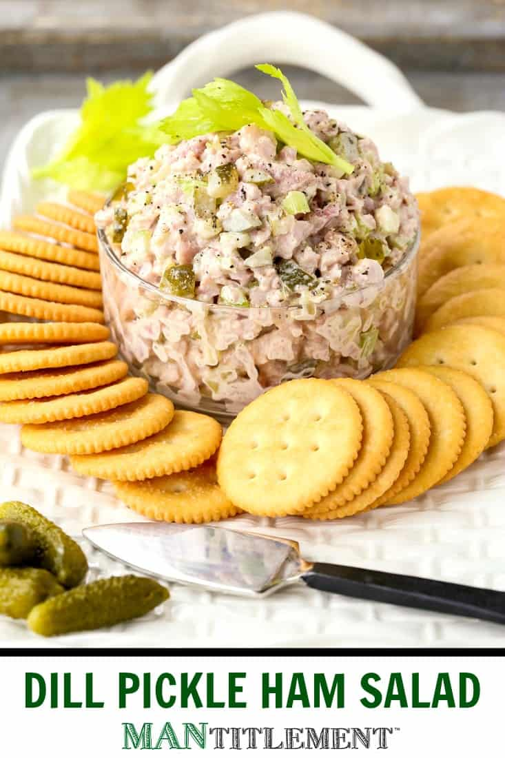 Dill Pickle Ham Salad is an appetizer recipe that can also be used as a sandwich spread