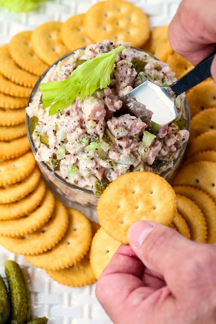Dill Pickle Ham Salad is a leftover ham recipe to serve with crackers or as a sandwich