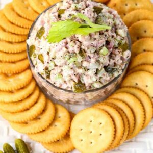 Dill Pickle Ham Salad is a leftover ham recipe you can serve as an appetizer with crackers