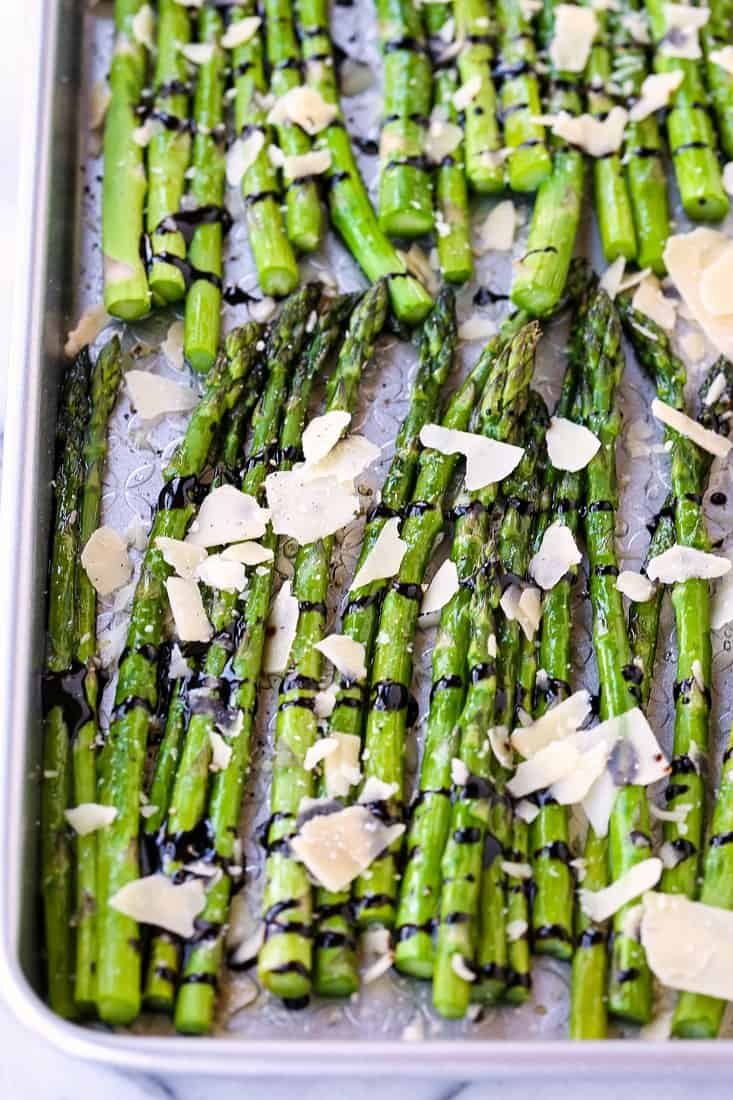 Oven Roasted Balsamic Asparagus is an asparagus recipe with parmesan cheese and balsamic glaze