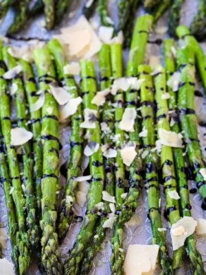 Oven Roasted Balsamic Asparagus is a vegetable recipe with balsamic glaze and cheese