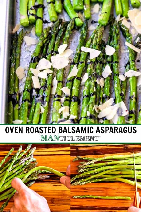 oven roasted asparagus with shaved parmesan and balsamic drizzle
