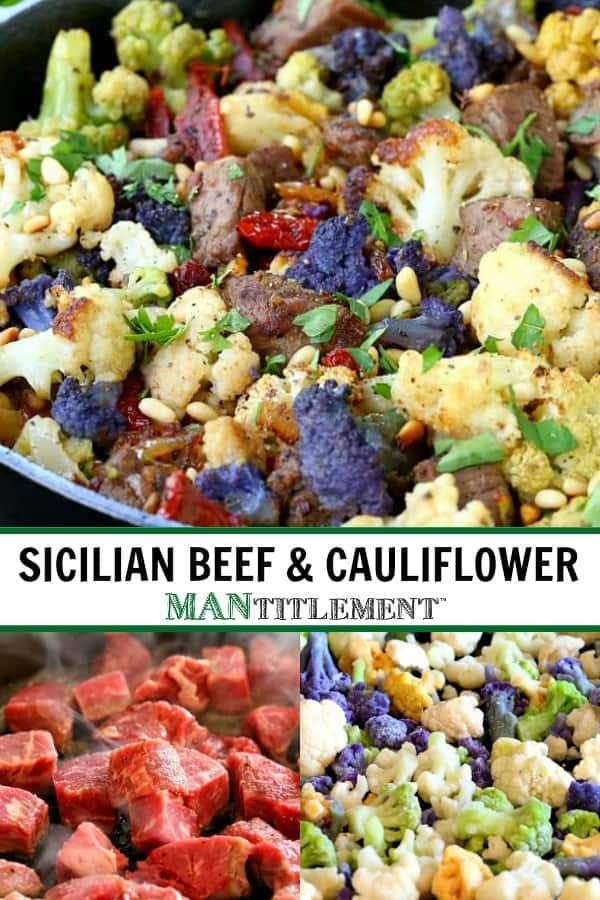 Skillet Sicilian Beef And Cauliflower collage for Pinterest