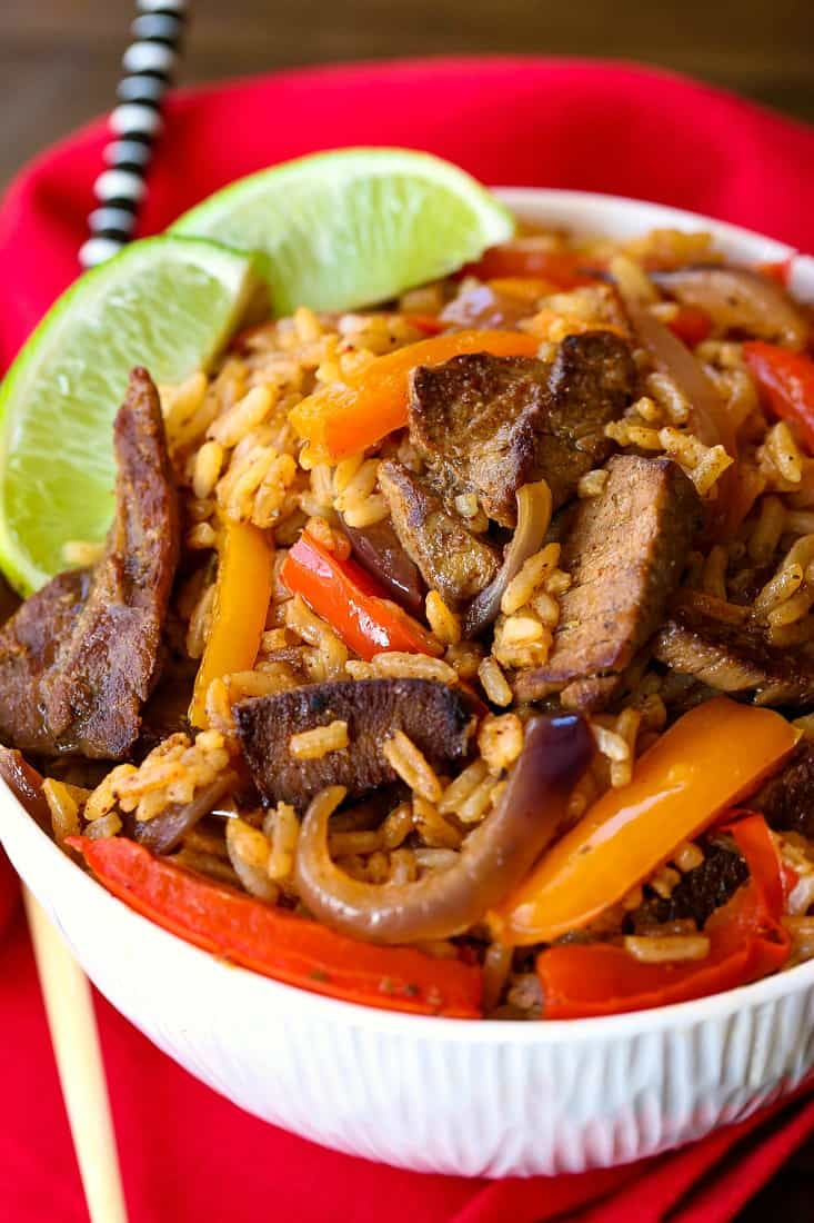 Steak Fajita Fried Rice is a fried rice recipe with sliced steak and pepper