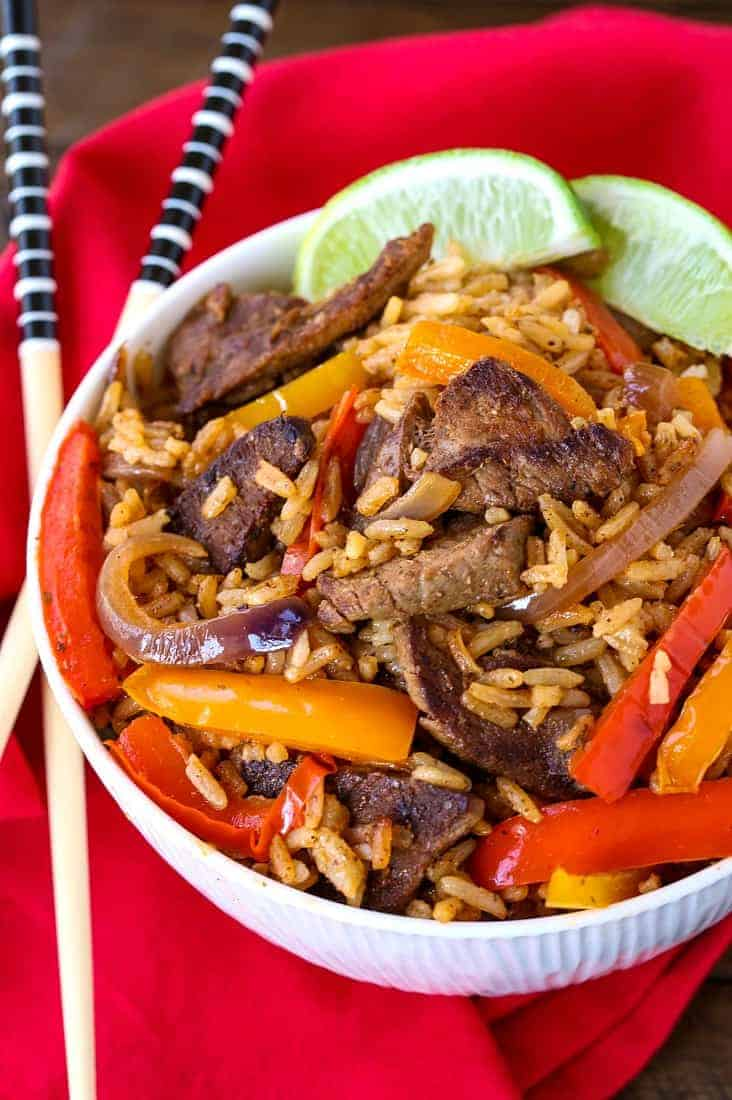 Steak Fajita Fried Rice is a beef fried rice recipe with sliced steak and peppers