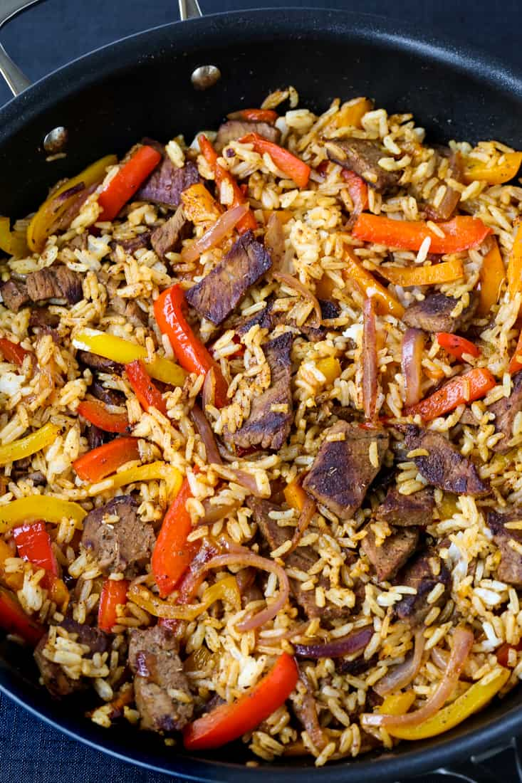 Steak Fajita Fried Rice is a fried rice recipe made in a wok