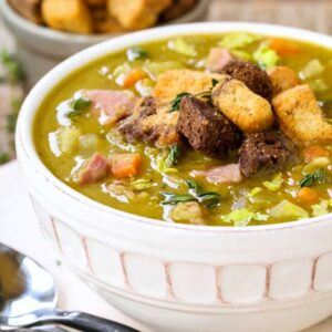 Stove Top Split Pea and Ham Soup is a soup recipe made with leftover ham and topped with croutons