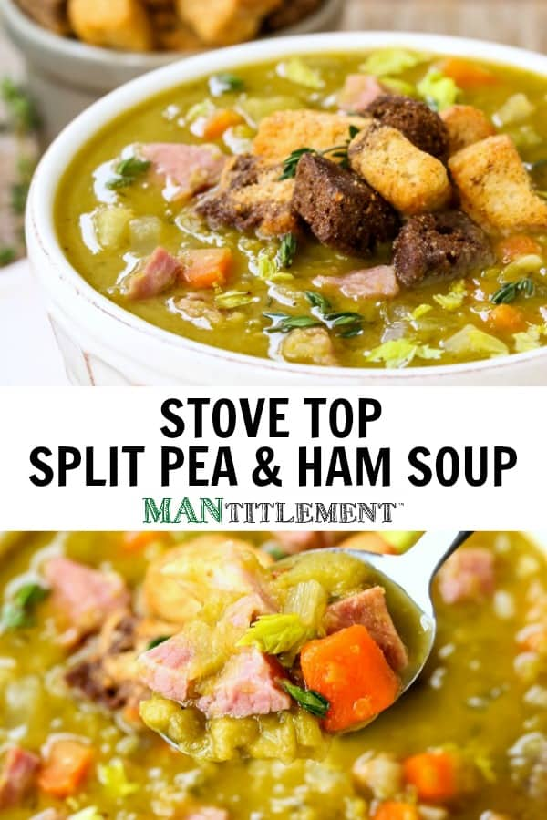 Stove Top Split Pea and Ham Soup is a soup recipe with split peas, leftover ham and vegetables