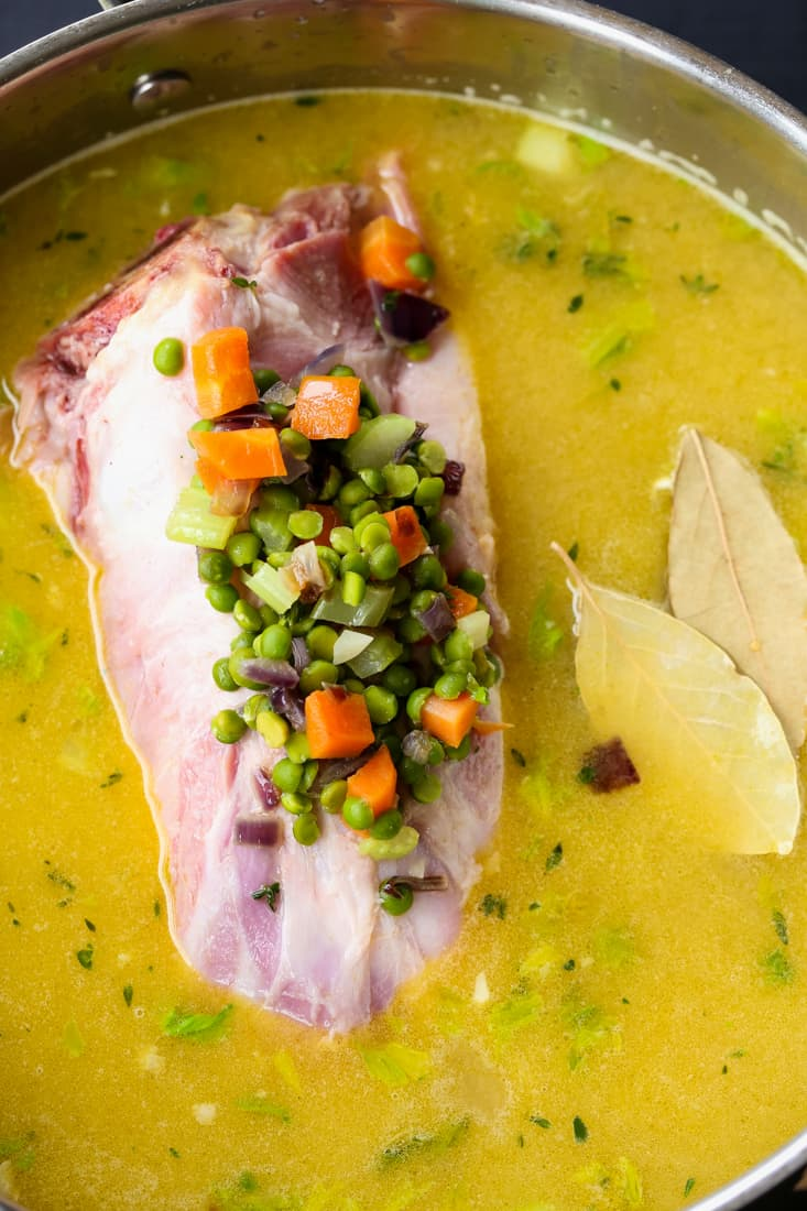 Stove Top Split Pea and Ham Soup is a soup recipe made with a leftover ham bone
