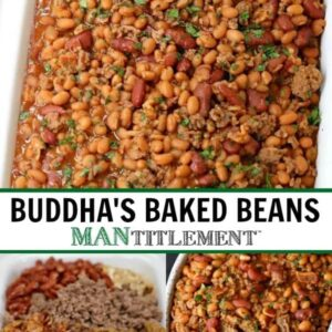 Buddha's Baked Beans are a baked bean recipe with beef, bacon and brown sugar