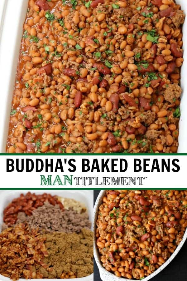 Buddha's Baked Beans are a baked bean recipe with two kinds of beans, beef, bacon and brown sugar