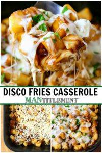 Disco Fries Casserole is a potato casserole recipe made like the diner classic recipe