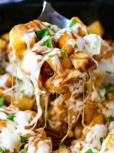 Disco Fries Casserole is a potato side dish recipe with brown gravy and mozzarella cheese