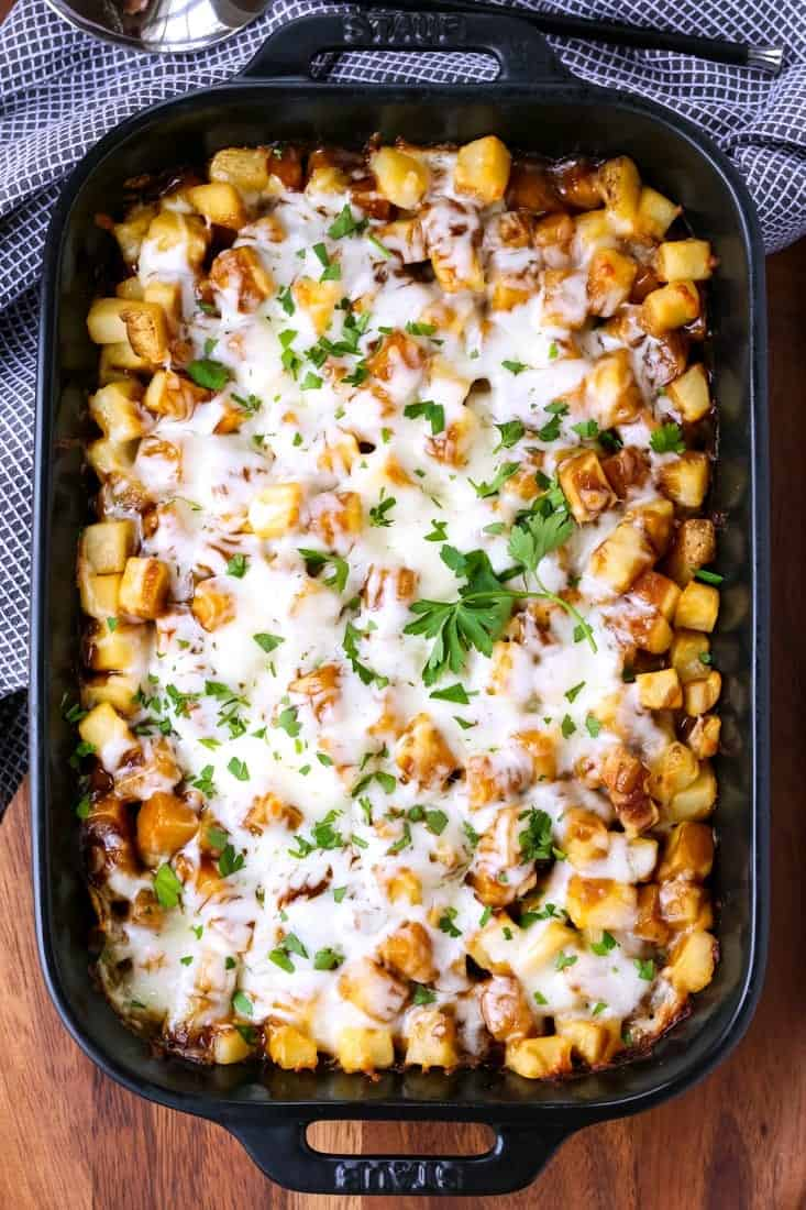 Disco Fries Casserole is a potato casserole recipe with brown gravy and cheese