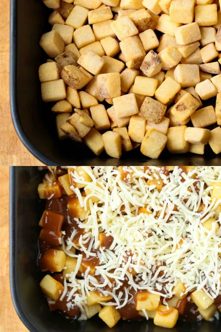 Disco Fries Casserole starts with frozen, diced potatoes topped with mozzarella cheese and brown gravy