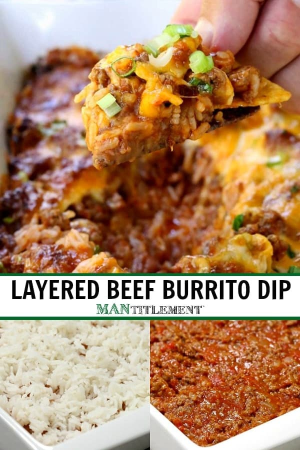 Layered Beef Burrito Dip collage for PInterest