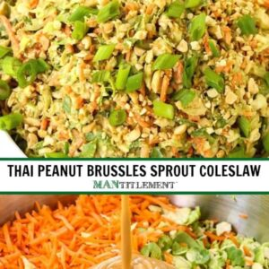 Thai Peanut Brussels Sprout Coleslaw is a coleslaw recipe with a peanut flavor