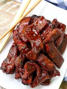 Chinese Boneless Spare Ribs on a white plate with chop sticks