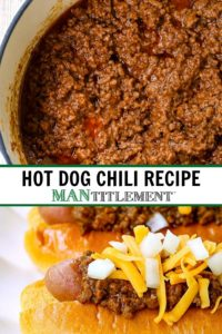 Hot Dog Chili Recipe collage for Pinterest