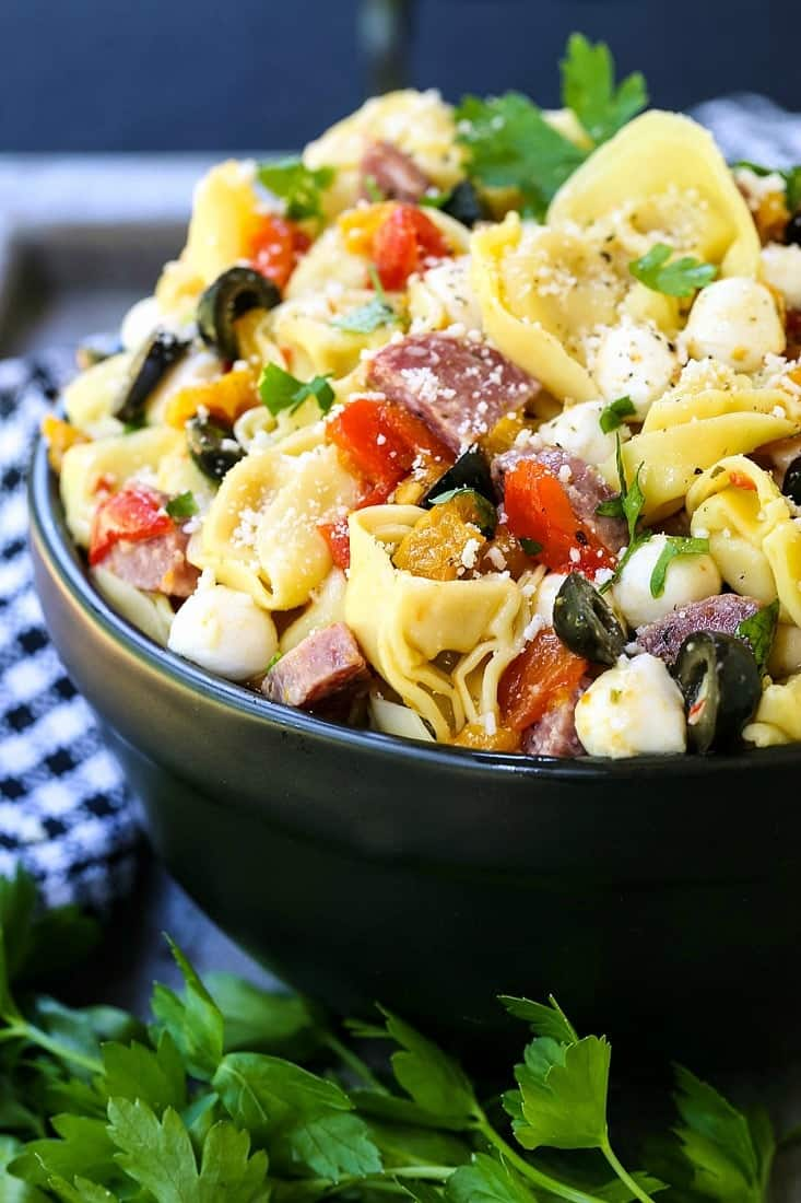 Italian Pasta Salad is a pasta recipe made with tortellini and a creamy Italian dressing