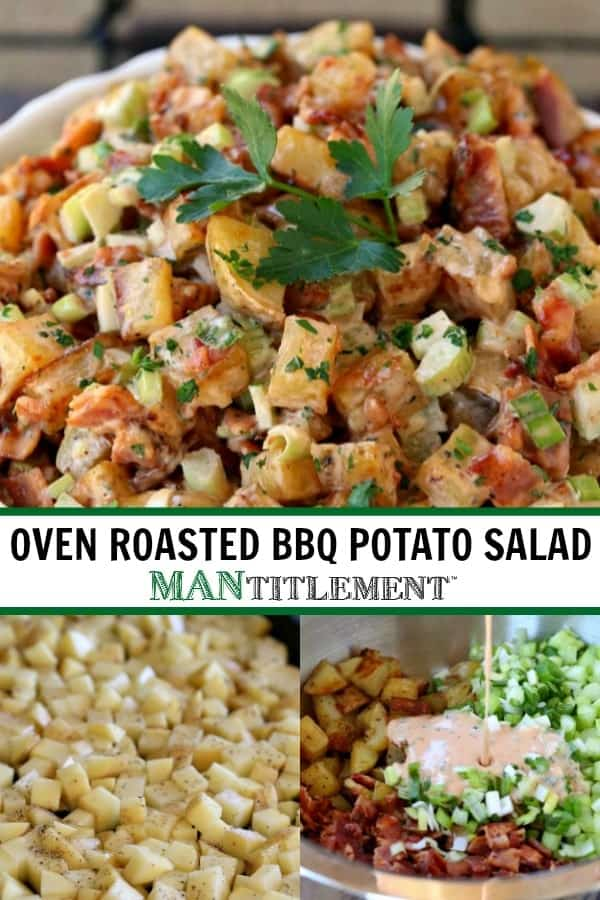oven roasted bbq potato salad collage for pinterest