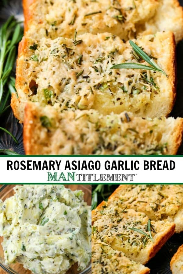 Rosemary Asiago Garlic Bread is a side dish recipe made with Asiago cheese