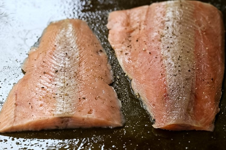 Salmon Salad Recipe starts with fresh, baked salmon