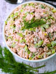 Salmon salad Recipe is a salmon recipe with mayonnaise, dill and celery