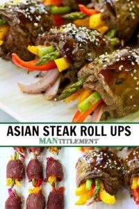 Asian Steak Roll Ups collage for Pinterest