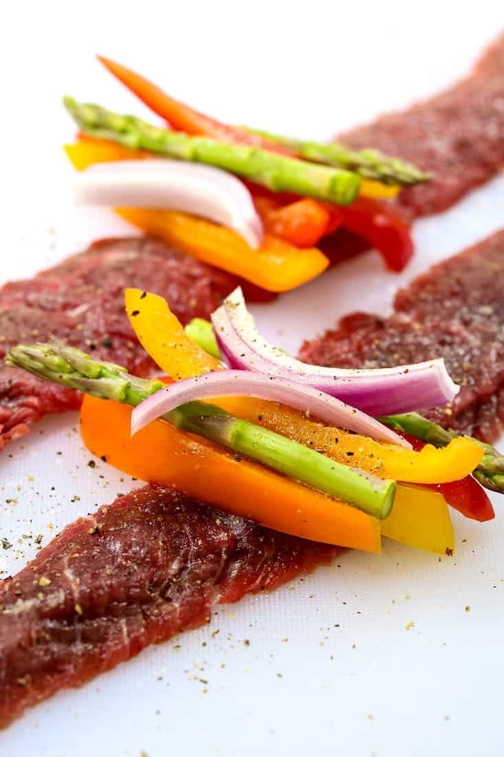 Asian Steak Roll ups are a steak recipe that's stuffed with vegetables