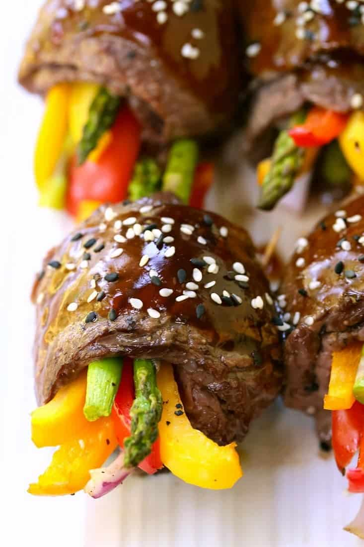 Asian Steak Roll Ups are a steak recipe made with vegetables and an asian sauce