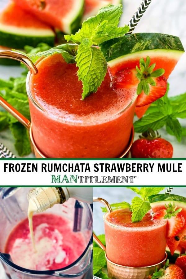 Frozen RumChata Strawberry Mule collage for pinterest