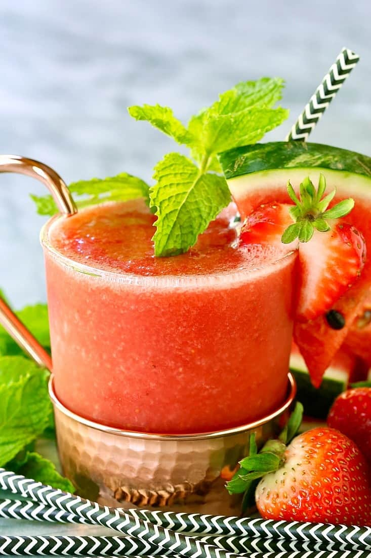 Frozen RumChata Strawberry Mule can be easily made in your blender