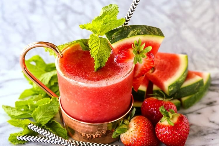 Frozen RumChata Strawberry Mule is a perfect drink recipe for a warm day