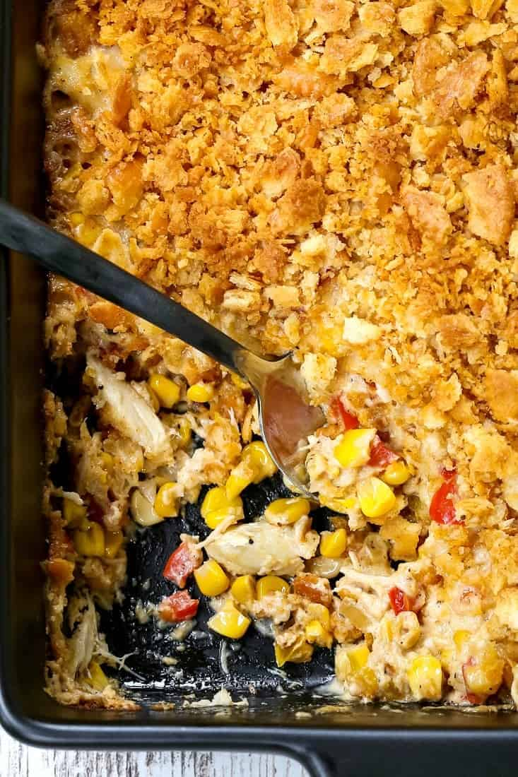 Hot Crab and Corn Dip is an easy appetizer recipe made with corn, crab and peppers