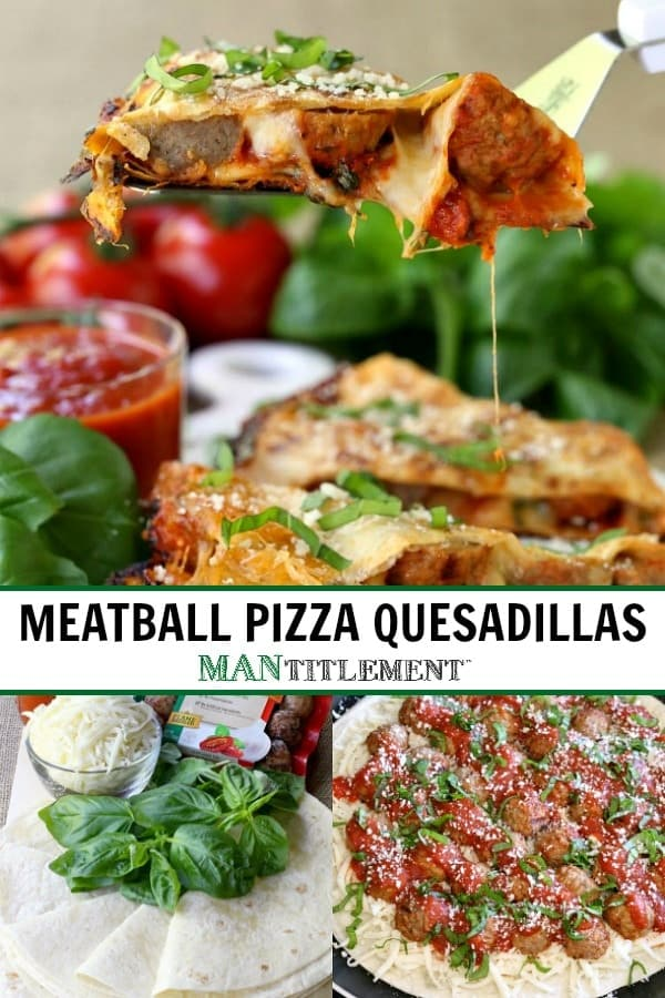Meatball Pizza Quesadillas are a quesadilla recipe made with store bought meatballs