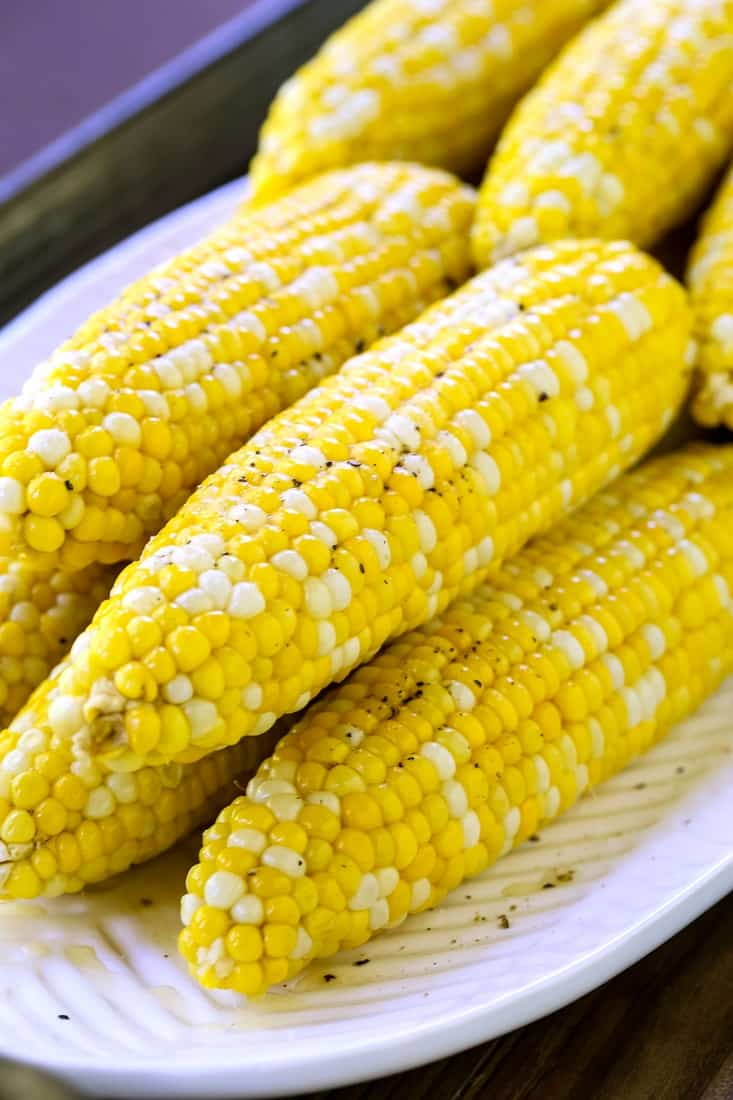 Oven Roasted Corn on the Cob has less mess than shucking corn before cooking