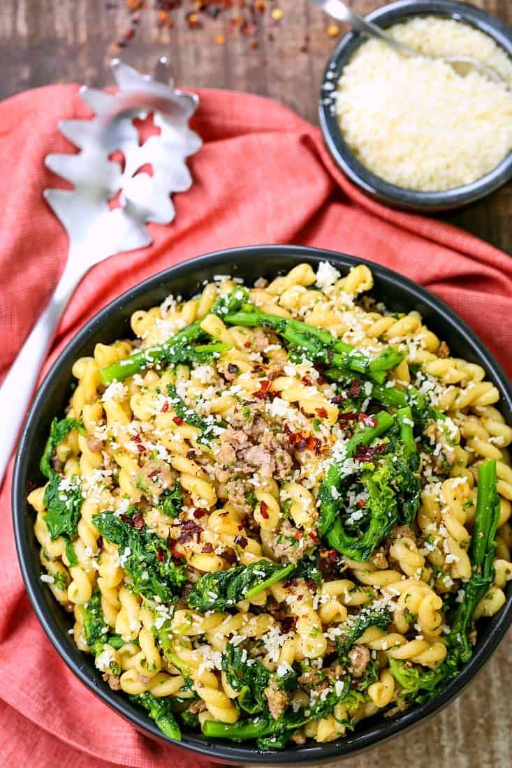Pasta with Sausage and Broccolini is a simple pasta recipe with italian sausage, broccolini and parmesan cheese