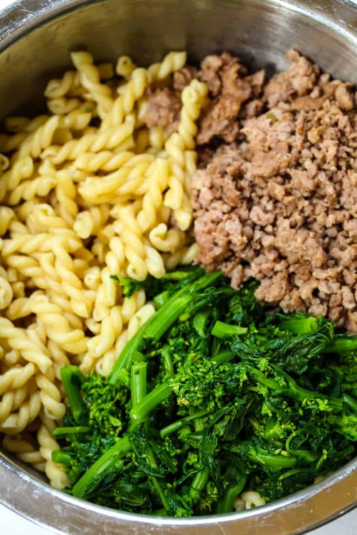 Pasta with Sausage and Broccolini show ingredients in a bowl