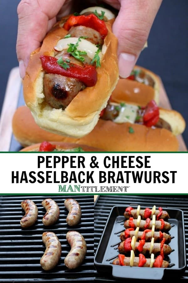 Pepper & Cheese Hasselback Brats are a bratwurst recipe that's stuffed with cheese and peppers