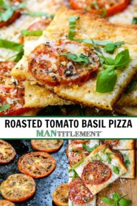 Roasted Tomato Basil Pizza is an easy dinner recipe using fresh tomatoes