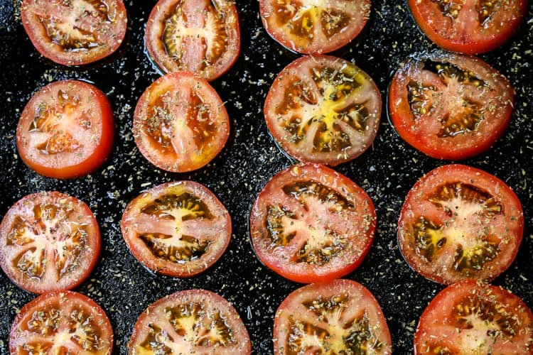 Roasted Tomato Basil Pizza starts with fresh, seasoned tomatoes that get roasted in the oven