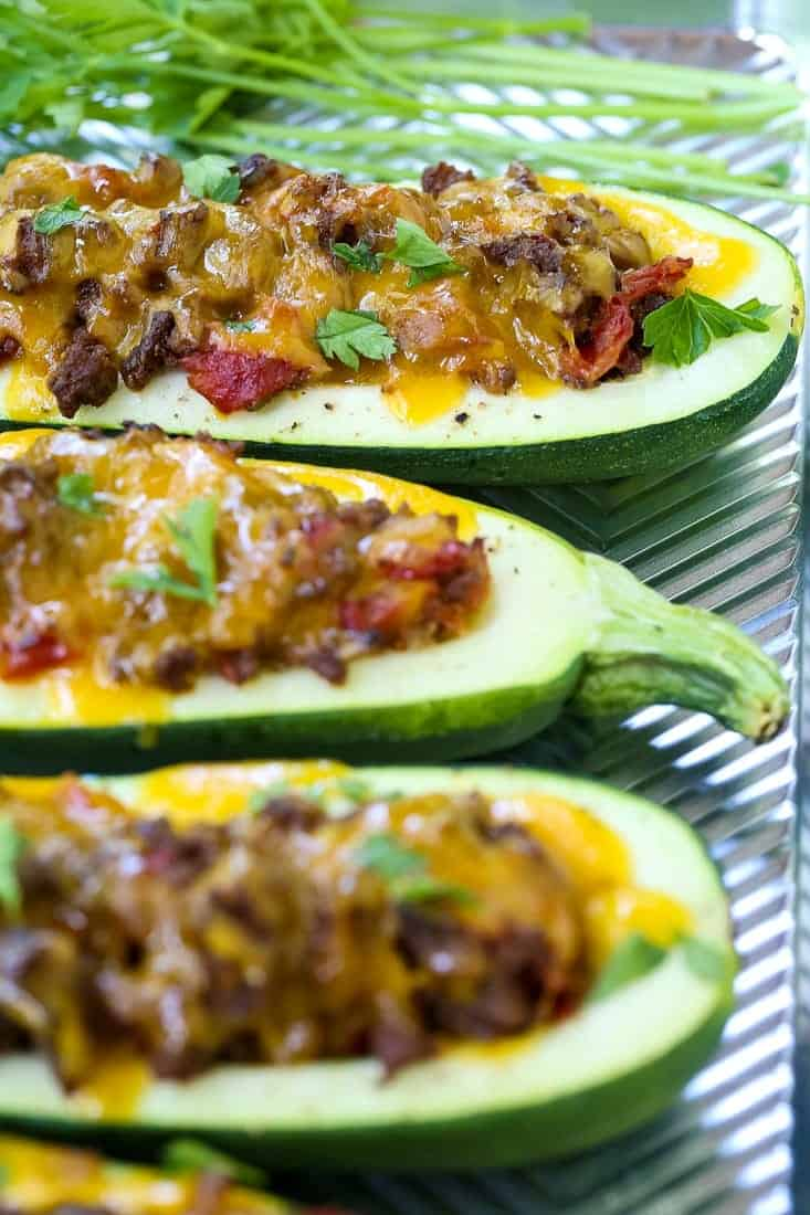 Beefy Taco Zucchini Boats are a low carb dinner recipe