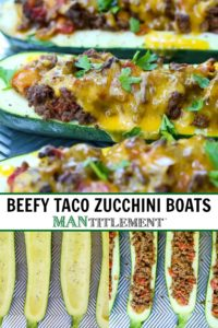 Beefy Taco Zucchini Boats collage for Pinterest